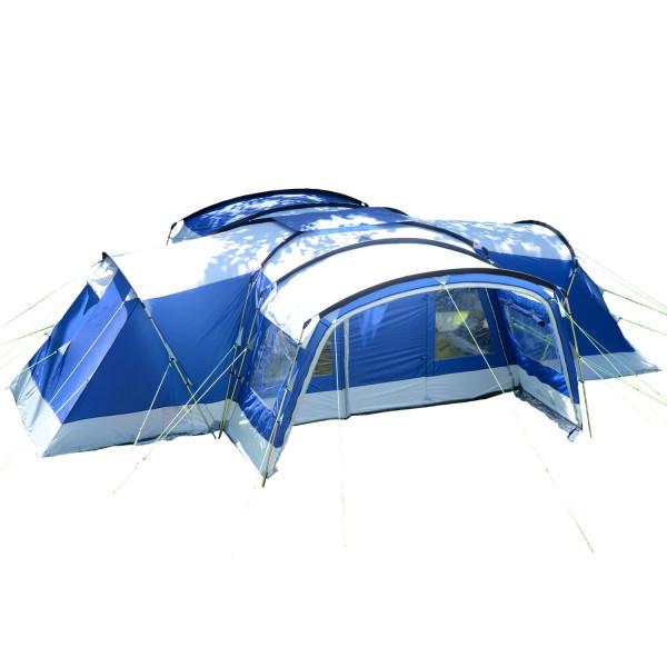 Tente familiale Skandika Nimbus 12 personnes - 5000mm, 3 cabines de couchage (bleu)
