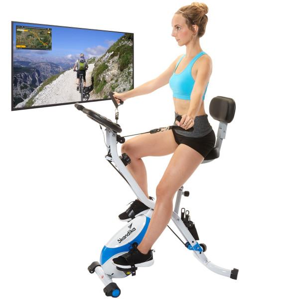 SKANDIKA Vélo d'appartement Foldaway X-3000 4-en-1 (Bleu/Blanc)