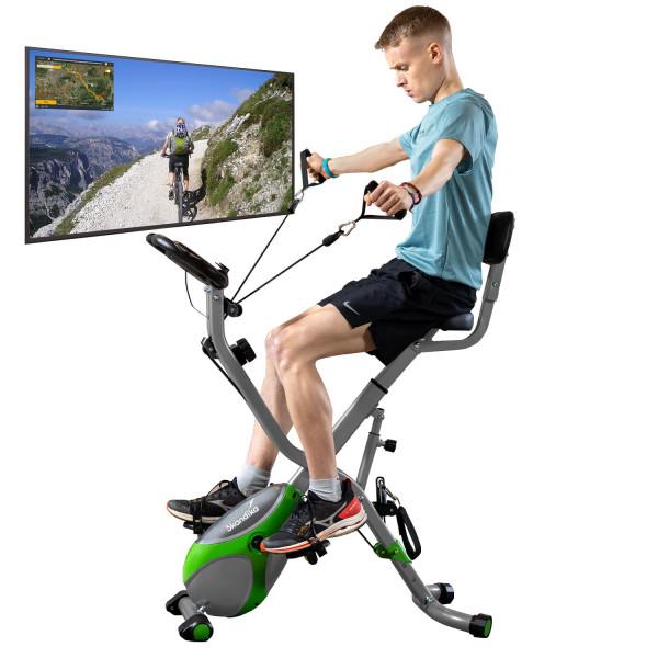 Vélo d'appartement Skandika Foldaway X-3000 4-en-1 (Vert/Gris)