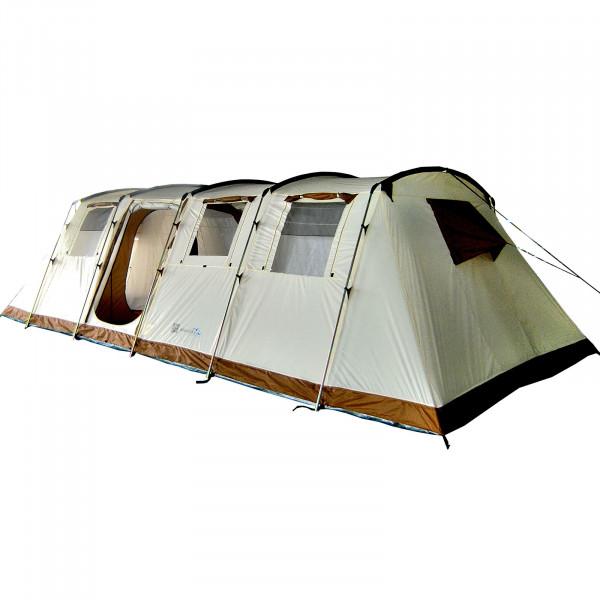 Tente familiale Skandika Casablanca 12 personnes - tapis de sol cousu, 4 cabines de couchage, Colonne d'eau 5000mm (beige)