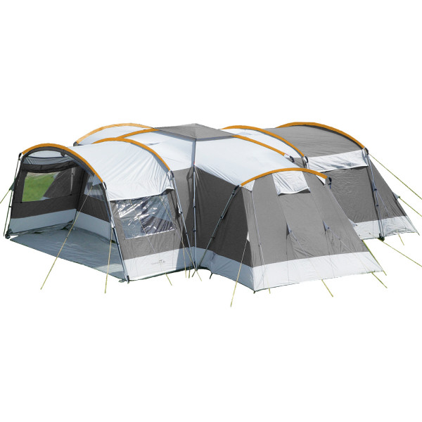 Tente familiale Skandika Nimbus 12 personnes - 5000mm, 3 cabines de couchage (gris/orange)